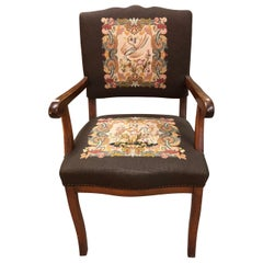 Brown Rustic Wood German Armchair Bird's Romantic Scene Upholstery