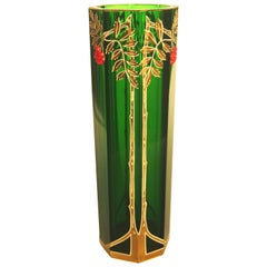 Art Nouveau Green Riedel Vase with Applied Red Beads