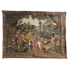 Large French Aubusson Style Machine Made Tapestry, 20th Century