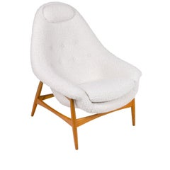 Scandinavian Modern Oak and Upholstered Womblike Lounge Chair, Denmark 1960s