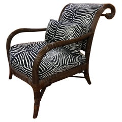 Pair of Zebra Faux Bamboo Large Two Club / Lounge Armchairs