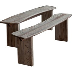 Twin Curved Ash Benches