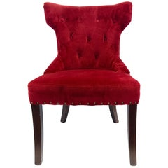 Custom Upholstered Nailhead Red Tufted Dining Chair