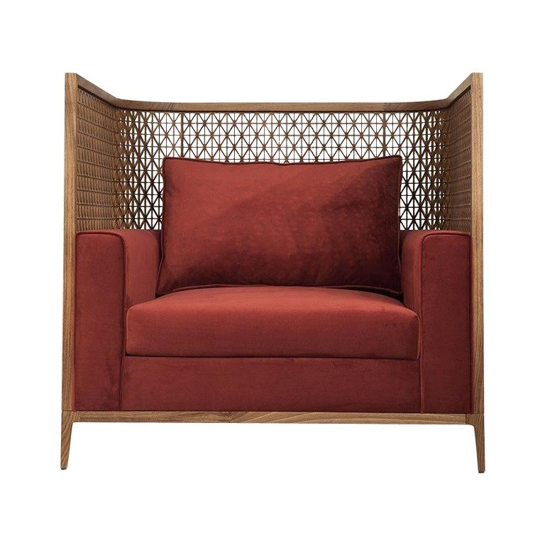 Harem Contemporary Love Seat in American Walnut For Sale