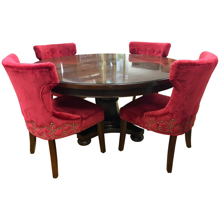 Bernhardt Dining Room Set Round Mahogany Table And Nailhead Chairs For Sale At 1stdibs