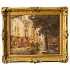 20th Century Oil on Masonite French Signed Painting with City View, 1960