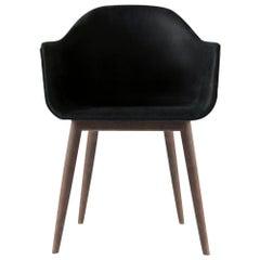 "Harbour Chair, Natural Oak, Nevotex ""Dakar"" Black Leather"