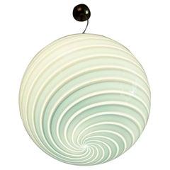 Italian Murano Vintage Pendant Light with Blue Swirl Glass Globe, 1970s
