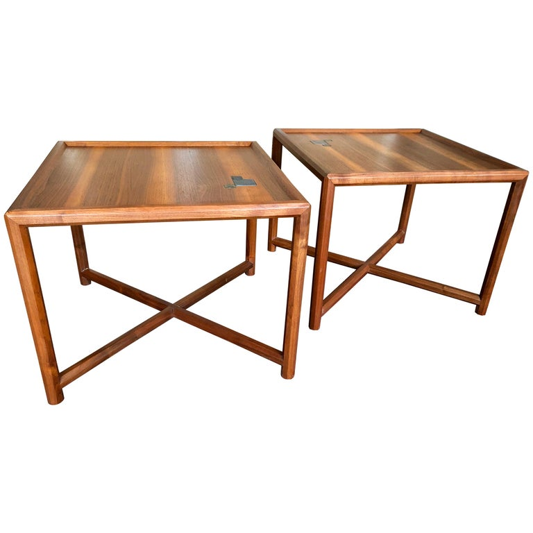 Pair of Dunbar Janus End Tables with Tiffany Tiles For Sale