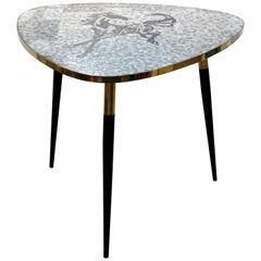 1953 Italian Vintage Black White Gray Horse Mosaic Brass Dining / Coffee Table
