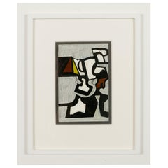 "Nell Blaine ""Untitled"" Abstract Mixed-Media on Paper in Frame, USA 1940s"