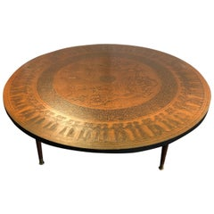 Stamped Copper Egyptian Revival Coffee Table by Vad Trevarefabrikk, 1960s