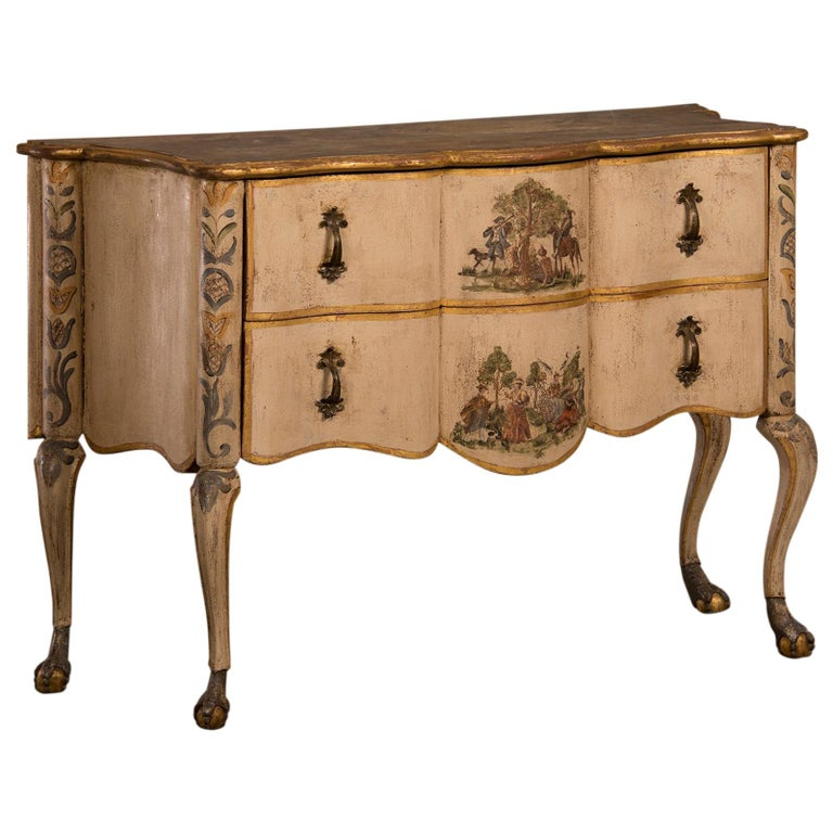 Antique Italian Baroque Rococo Painted Two-Drawer Chest, Italy, circa 1750 For Sale