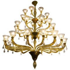 Venini Amber Gold Extraordinary Original Murano Glass Chandelier, 1960