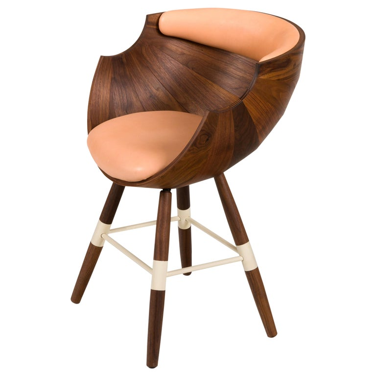 "Walnut and Leather ""Zun"" Dining or Conference Chair by Lop Furniture, Denmark For Sale"