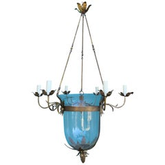 20th Century Continental 6-Arm Bell Jar Lantern Chandelier, Gilt Metal Mounts