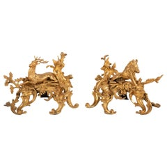 Fabulous Pair of 19th Century Louis XV Style D'ore Bronze Chenets