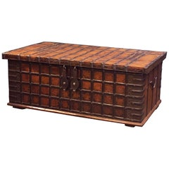Large Rajasthan Trunk of Iron and Teak from British Colonial India 'The Raj'