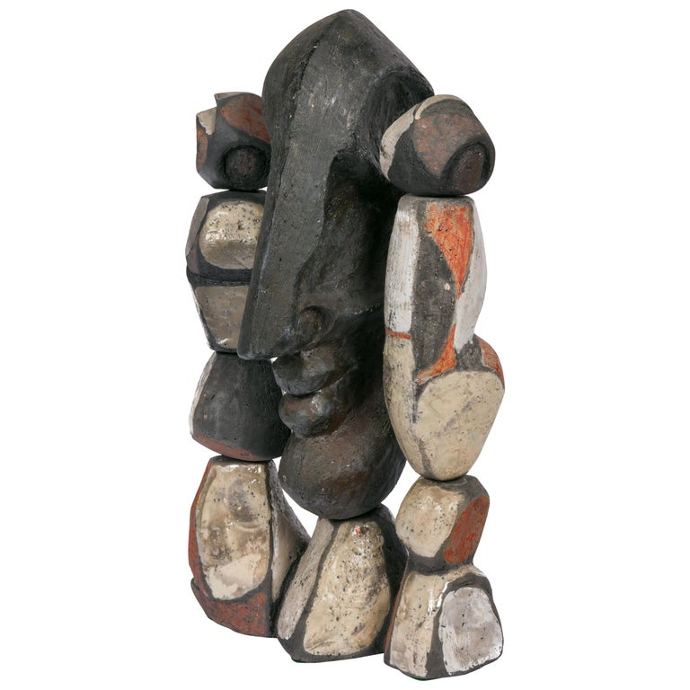 Abstract Ceramic Figural Sculpture, France 1990s For Sale