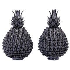 Large Pair of Deep Blue Glazed Terracotta Lidded Pineapples