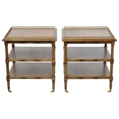 Pair of French Bamboo Side Tables