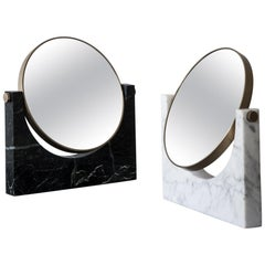 Pepe Marble Mirror, Brass, Black Marble