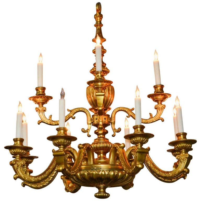 19th Century Continental Gilt Bronze Chandelier For Sale