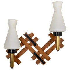 Teak, Brass and Opaline Glass Wall Sconces, 1960s Italy Vintage Two Lights