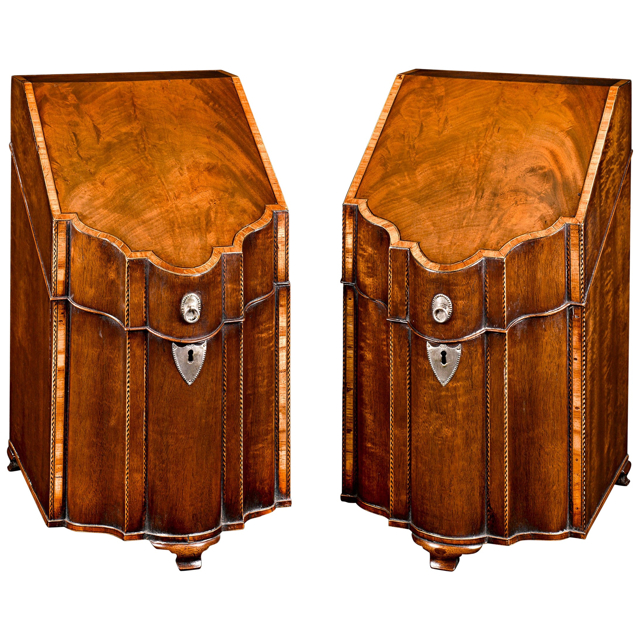 18th Century George III Mahogany Footed Knife Boxes