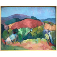 J Welker Landscape Oil on Board