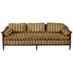 Midcentury Upholstered Walnut Three-Seat Sofa