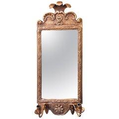 19th Century Gilt Gold Wall Mirror Sconce with Beveled Fleur-de-Lis Design