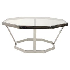 Octagonal Chrome Coffee Table in the Style of Milo Baughman