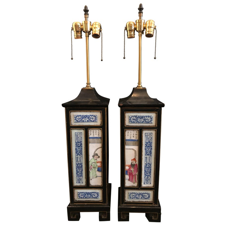 Pair of Midcentury Chinoiserie Table Lamps with Qing Porcelain Plaques For Sale