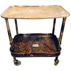 Tortoise Shell Decorated Two-Tier Hollywood Regency Style Silver Plated Server