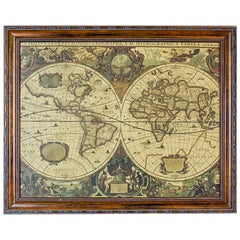19th Century Graphic with a Hydrographic World Map