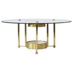 1960s Circular Modern Brass Coffee Table