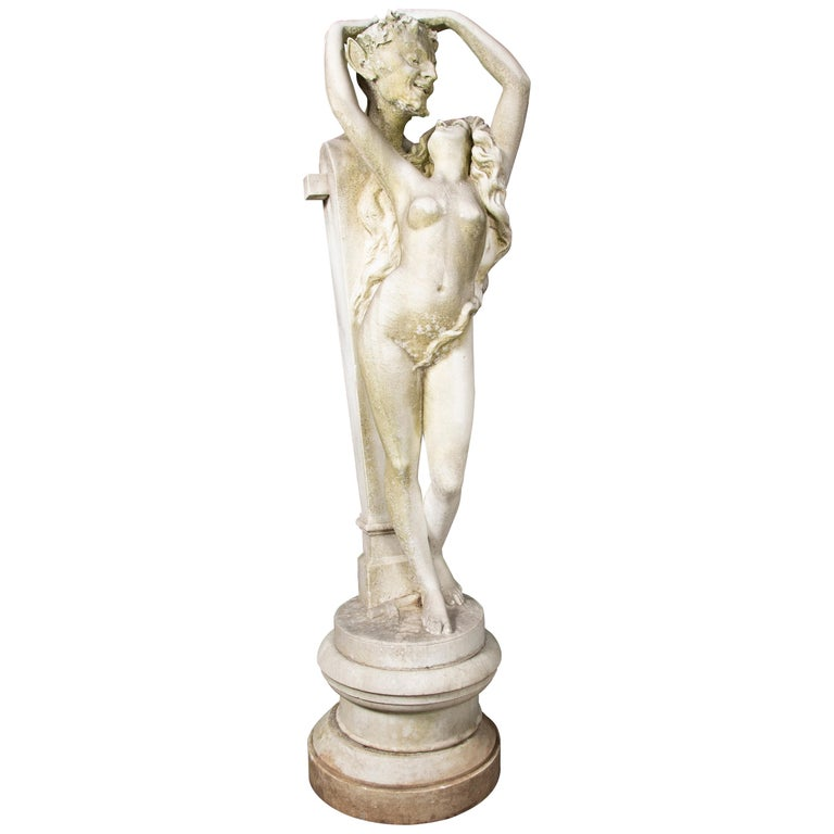 Carved Carrara Marble Statue of a Satyr & Maiden For Sale