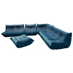 Turquois Velvet Togo Sofa Set by Michel Ducaroy for Ligne Roset, Set of 5