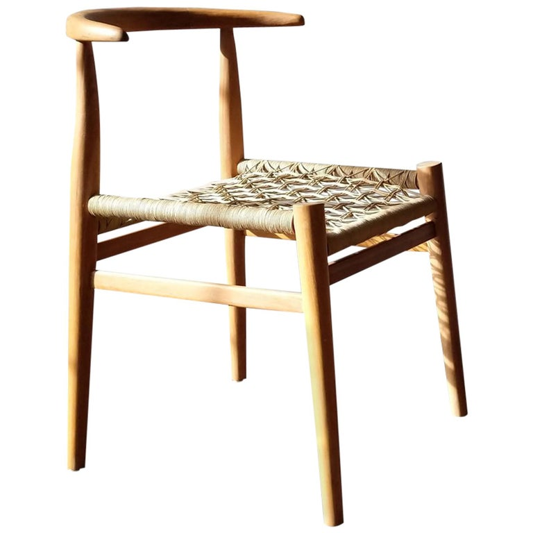 Nguni Dining Chair in Iroko with Crosshatch Weave For Sale