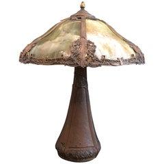 Arts & Crafts Bradley & Hubbard Grüne Schlacke Tischlampe