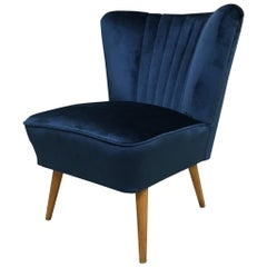 1950s Cocktail Chair Blue Velvet