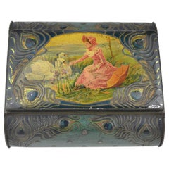 1900s Tin Biscuit Box with Lady and Swans for De Beukelaer Antwerp Belgium