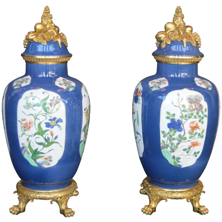 Pair of 19th Century Ormolu-Mounted Chinese Porcelain Vases For Sale