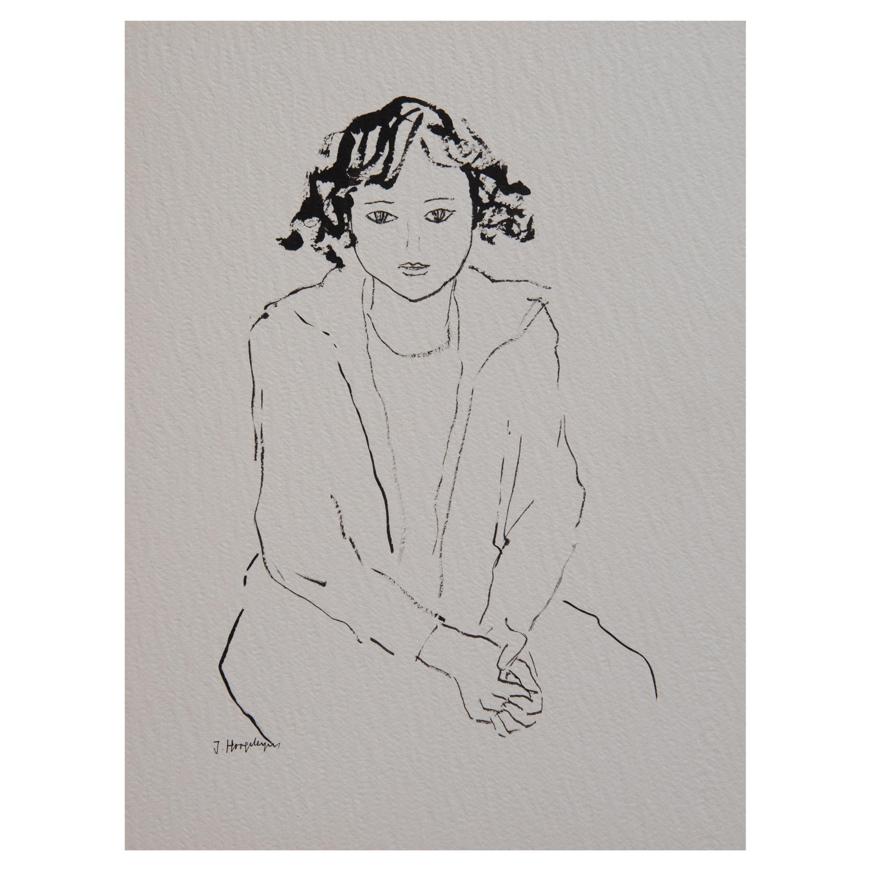 Girl Unframed Drawing Ink 100% Cotton Paper Black White Intimist Modern
