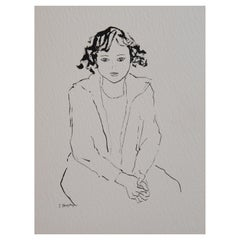 Girl Unframed Drawing Ink 100% Cotton Paper Black White Intimist Modern