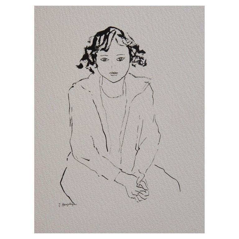 Girl Unframed Drawing Ink 100% Cotton Paper Black White Intimist Modern  For Sale