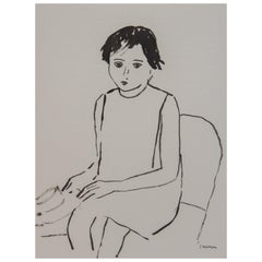 Child with Hat Unframed Drawing in Ink 100% Cotton Paper Black White Intimist