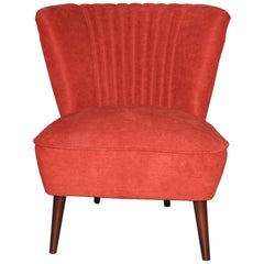 1950s Cocktail Chair Red Fabric