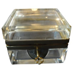 French Crystal Box with Gilt Metal Fittings and Key